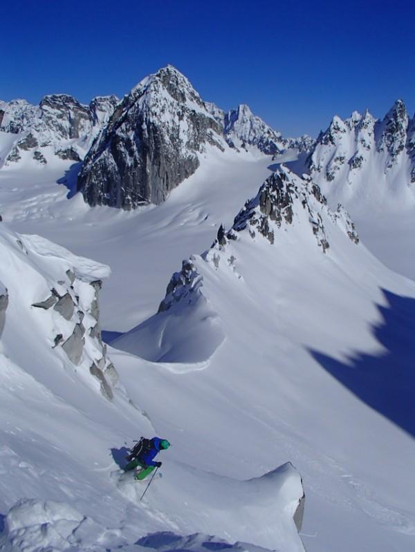 Mikey Leake skiing the Alaska Range, spring 2013.